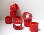 SALE Mod Cherry Red Napkin Rings Lucite Set of 8 Festive Fun Retro Dining