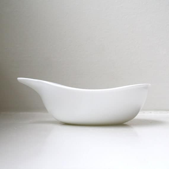 RESERVED Modernist White Bowls 4 Tab Handle Milk Glass Dishes Curvilinear Graceful