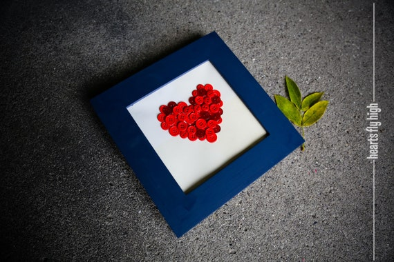 Home Decor Cute Navy Blue Framed Red Button Art Heart Nursery American Square Table Decoration