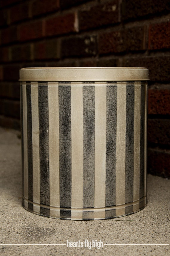 Canister Metal Tin Upcycled Stripped Kitchen Storage Rustic