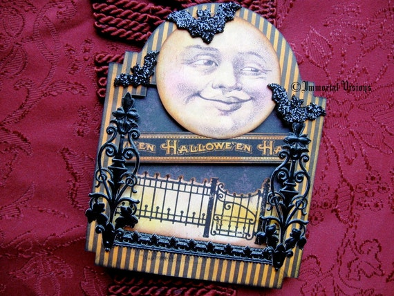 Gothic Halloween Greeting Card - Vintage Man on the Moon - Cabinet Card / Shrine Style