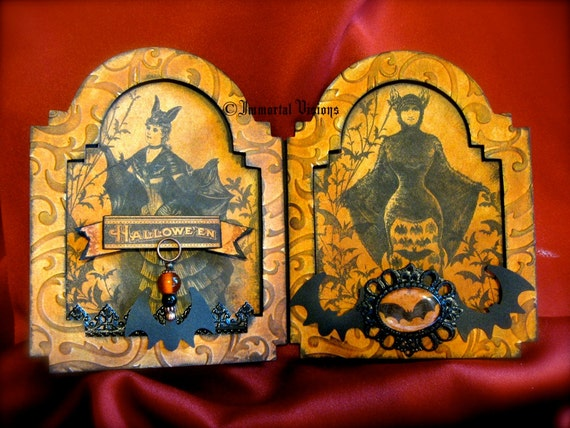 Halloween Gothic Shrine - Victorian Bat Lady - Mixed Media Collage Decor