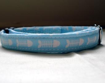 "Blue Fishbones- Eco Cat Collar (8""-12"")"