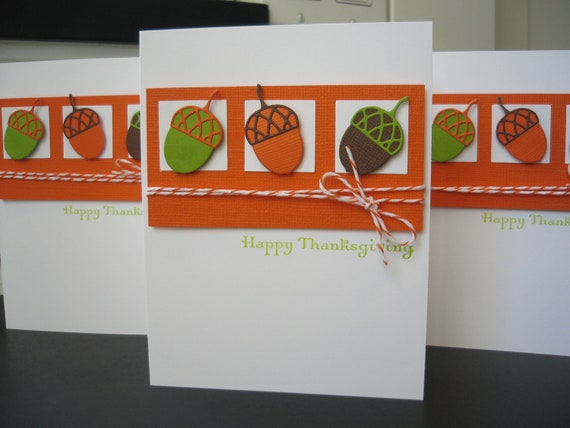 Thanksgiving Acorn Cards Set of 4 Acorns Fall Autumn