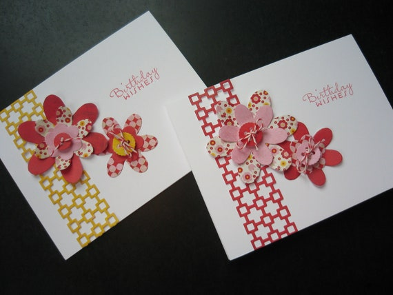Handmade Floral Birthday Card Set of 2