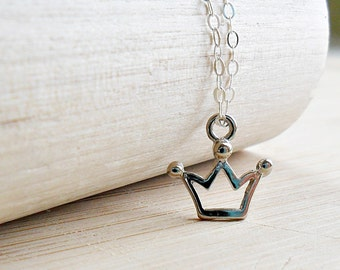 Crown Necklace Princess Crown Pendant Necklace Princess Necklace Sterling Silver Princess Jewelry