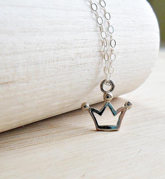 Crown Necklace Princess Crown Pendant Necklace Princess Necklace Sterling Silver Princess Jewelry