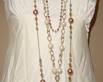 Heart Pearls and Chains Layered Necklace Vintage Upcycle