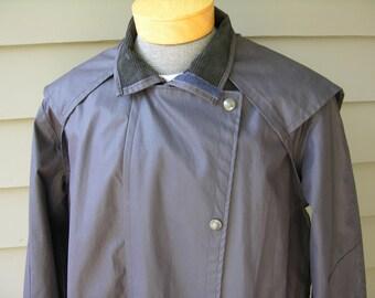 vintage Edward Goddard LTD. Waxed cotton Raincoat - Riding 'Duster'. Blue - Full length - Made in England. Medium