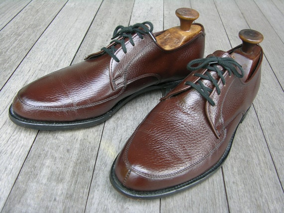 "vintage 1960's Nunn Bush Men's split-toe Norwegian Blucher. Walnut Brown pebble grain. Near ""NEW"". Size 9 - 9 1/2"