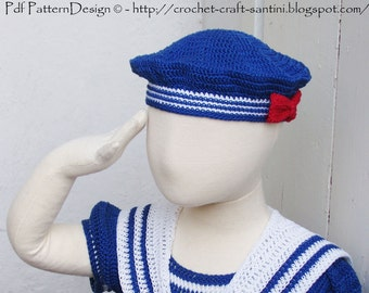 SAILOR HAT with Red Bow Crochet Pattern - Instant Download