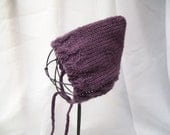 Vintage Newborn Cable Bonnet Purple