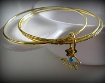 Trio Stacked Bangles 18k Gold  with Handmade Hamsa Charm. Sterling Silver Set OOAK Bangles