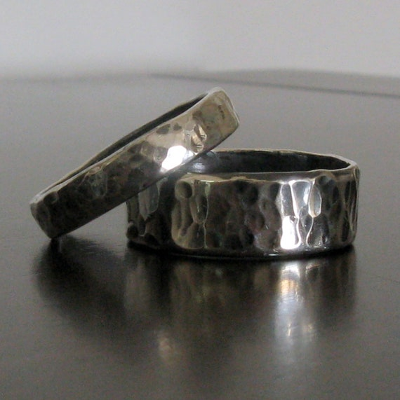 Mens Wedding Band // Matching Women's Wedding Band // Sterling Silver Contemporary Rings // Custom Made in Your Size
