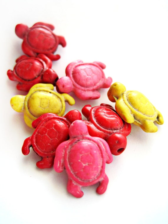Turtle beads - Howlite beads - howlite shapes, stone turtles, animals - carved, turquoise beads - Red, Yellow, Pink - 8 count