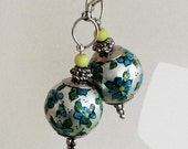 Handmade handpainted dangle earrings, blue flowers, sterling silver earwires