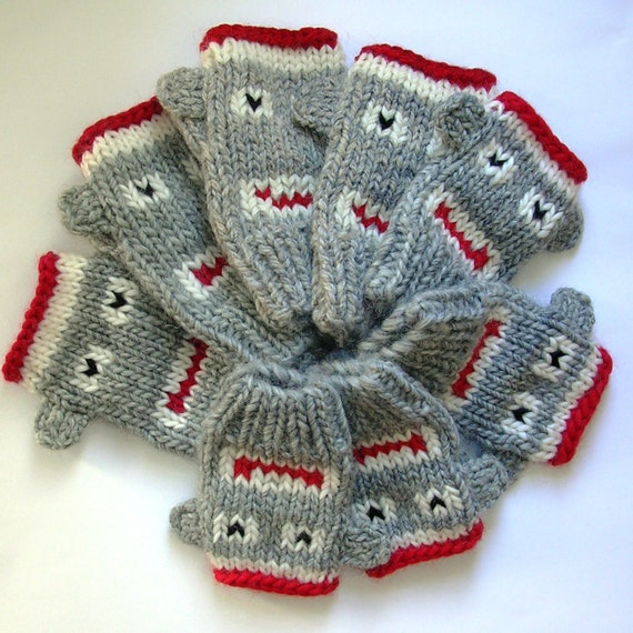 Knitting Pattern For Sock Monkey Mittens : Fingerless Monkey Mitten Knitting Pattern, Sock Monkeys Knitting Pattern in 4...