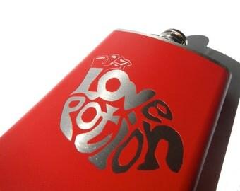 Love Potion FLASK- alcohol, liquor, booze, wedding, bridal party, hip pocket- Personalized Custom - YOU pick COLOR