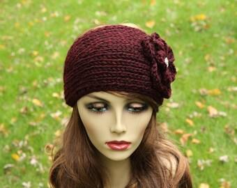 Hand knit - Headband - Earwarmer - Sparkling Rhinestone Button - 100% LAMB'S WOOL( Soft Wool) - Dark Red - Adult - Winter Accessory