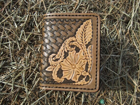Mens Leather Credit Card Wallet With Sheridan Floral Design