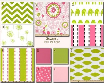 Custom Modern Baby Crib Bedding -Design Your Own-  Suzani in Pink and Green