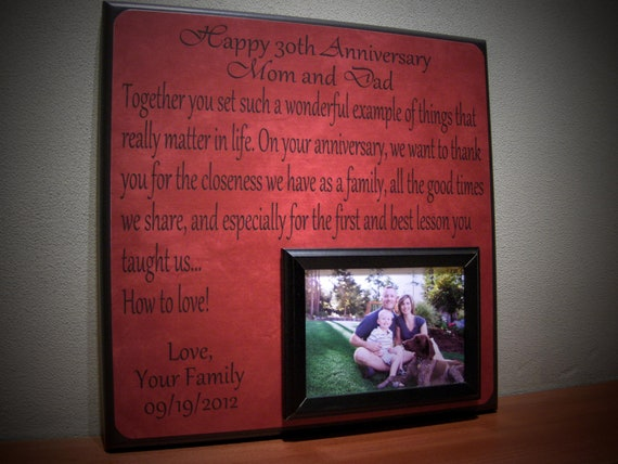 Wedding Gift For Mom And Dad : Picture Frame Gift, 40th Anniversary, 30th Anniversary, Mom and Dad ...