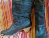 Rockin' Vintage 80's Dingo Black Leather & Suede Slouch Boots SZ 9