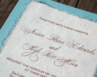 D-I-Y Simple Rustic Cardstock Wedding Invitation - Aqua and Cream Invitation