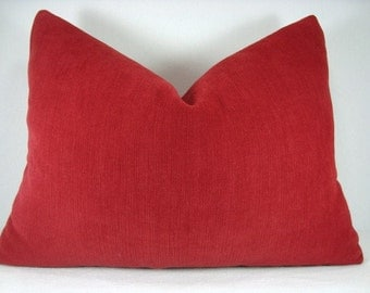 SALE!!! Brush Velvet Lumbar Pillow Crimson Red 13x18