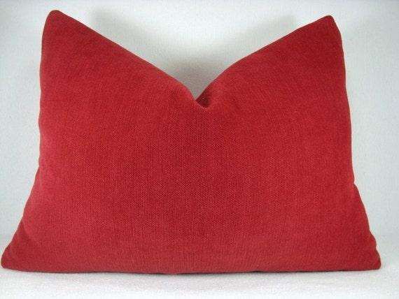 SALE!!! Brush Velvet Lumbar Pillow Crimson Red 13x18