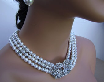Triple strands white pearl necklace, South sea shell pearl bridal necklace with antique inspired rhinestone brooch - Grace
