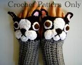 Crochet French Bulldog Fingerless Gloves Pattern PDF