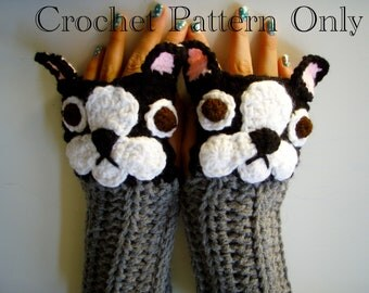 Crochet French Bulldog Fingerless Gloves Pattern PDF