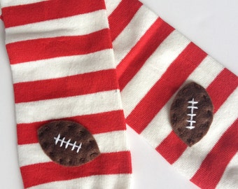 Football Baby Leg Warmers: red and white stripes with footballs