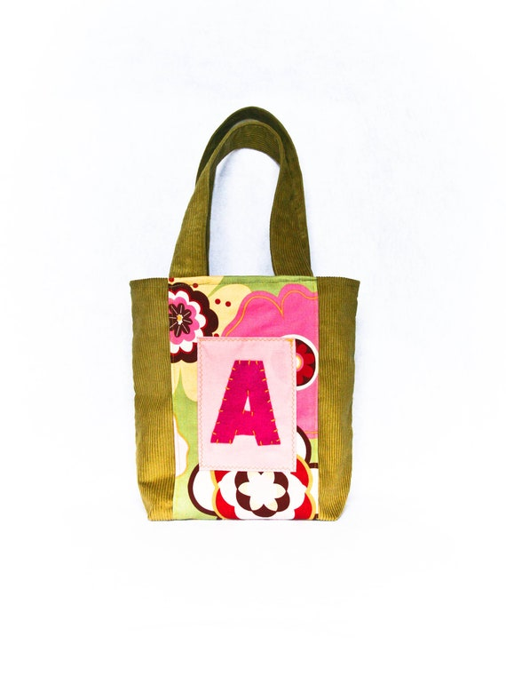 Personalized Tote, Floral Pink Green Handbag for Girls,  Fall Bag