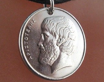 ARISTOTLE necklace. Greece COIN  necklace pendant. Greek apaxma. drachma. 1982 1976 . vintage No.001276
