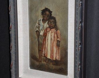 amazing black Americana painting black children rare early 1900s signed M.H. folk art
