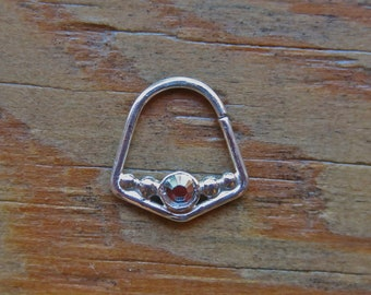 Angles Gem (.999 Silver) : Nose Ring .. Septum Jewelry .. Swarovski Crystal .. Nose Jewelry .. Rook .. Aprilsblissed .. Nosebling ..
