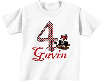 DIY Pirate Printable Iron On Transfer birthday shirt  t- shirt bag onesie  pirate black red white ship