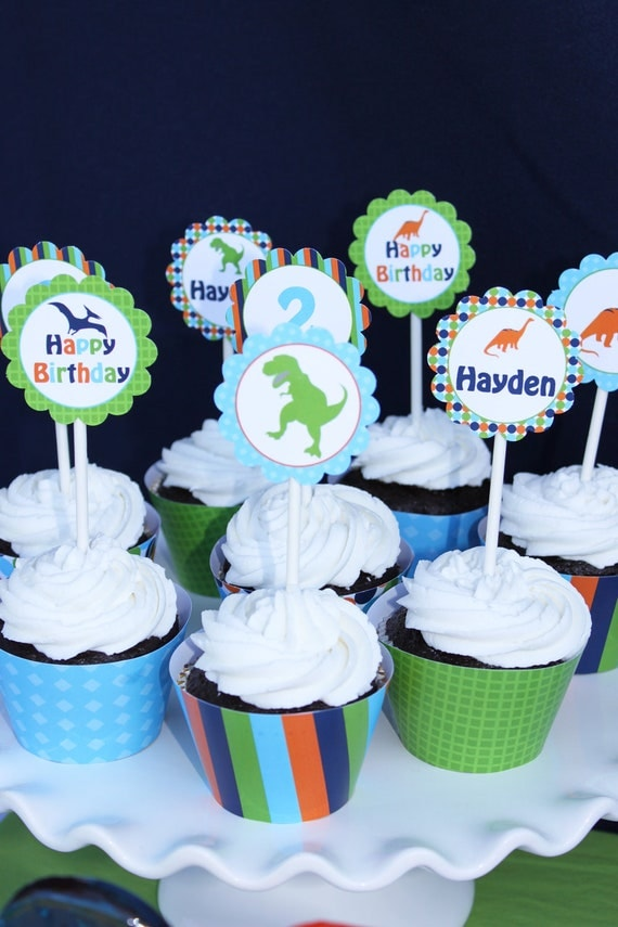 DIY Dinosaur  Birthday Party  PRINTABLE Cupcake Toppers Favor tags blue green  orange