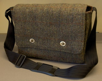 Harris Tweed Messenger Bag with shoulder strap - fabric satchel for iPad, Camera, Kindle, Macbook