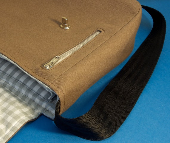 Messenger Bag with shoulder strap - fabric satchel for iPad, Camera, Kindle, Macbook