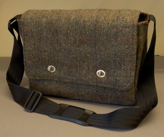 Harris Tweed Messenger Bag with shoulder strap fabric