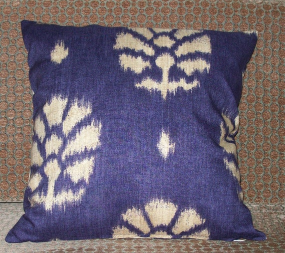 Purple and Tan IKAT Pillow Cover 18 x 18 inch, Cotton Home Dec Fabric for sofa, chair, bed
