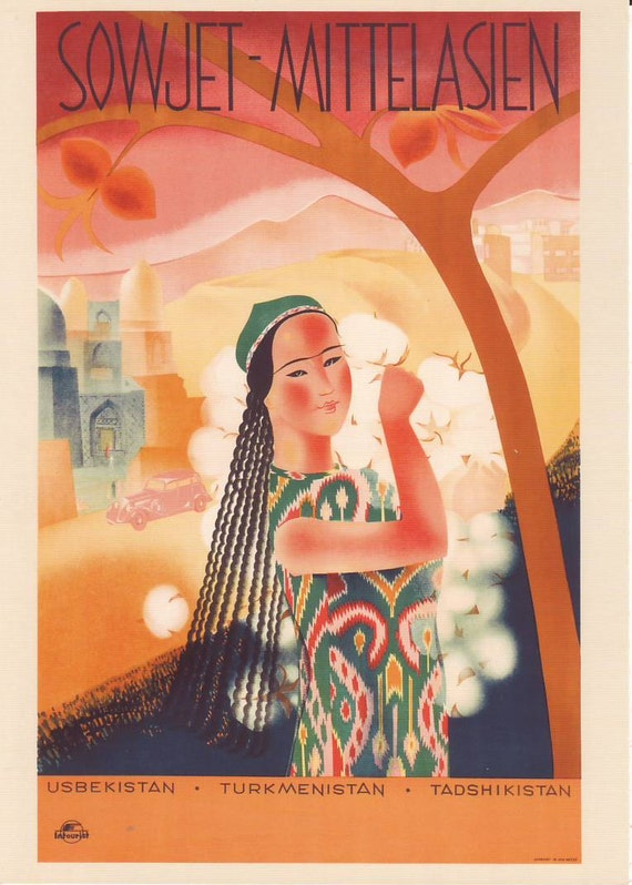 Welcome to the USSR. Soviet Travel Postcard. Soviet Middle Asia. PROPAGANDA collectible 1934 Moscow.