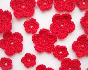 Crochet Flower Applique, Bright Hot Red, Set of 20, Handmade Supplies