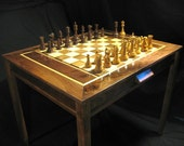 Chess set- Handmade Chess Table and Staunton Club Chess  Pieces by JimArnoldsChessSets