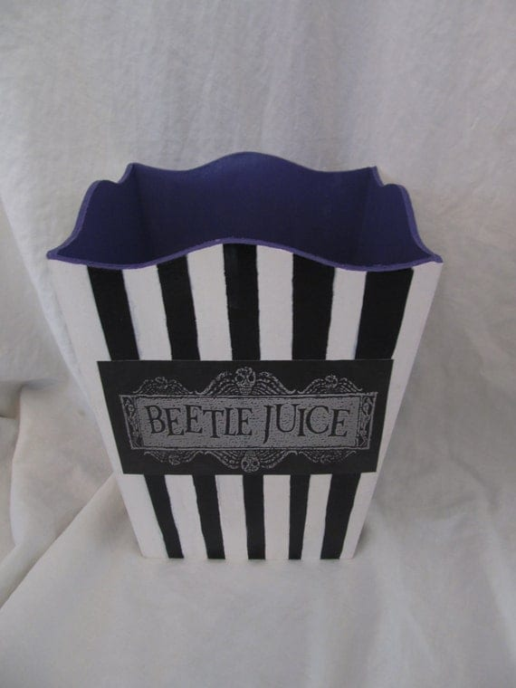 Beetlejuice Black And White Striped Waste Basket
