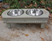 Medium Size Elevated  Dog Bowl Feeder - Off-White, 2 Three Quart Stainless Bowls  Cottage Chic Pet Feeder Made to Order
