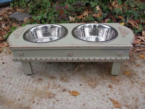 Medium Size Elevated  Dog Bowl Feeder - Dusty Olive, 2 Two Quart Stainless Bowls  Cottage Chic Pet Feeder Made to Order